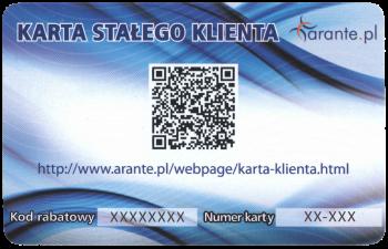 Tył karty stałego klienta sklepu Arante.pl